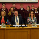 Teachers Ms. Siobhan Evans, Ms. Melissa Kielty with the Transition Year Students from Grange Post Primary School with Cllr Seamus Kilgannon of Sligo and Cathaoirleach of the NWR Assembly