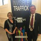 Invisible Traffick Irl Mary McSharry and Mayor of Sligo Municipal District Cllr Hubert Keaney.