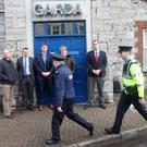 Members of the national executive of the Garda Representative Association stand in solidarity with their Garda colleagues as they take up duty on Monday at midday but who do not enter the Garda Station, going instead to an office at Chapel Street.