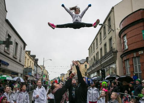 Last year's gymnastics during the St Patrick's Day Parade. Pic: Donal Hackett