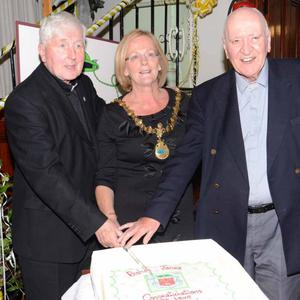 Bishop Jones celebrating his Golden Jubilee and Fr. Patrick McHugh who celebrated his Diamond Jubilee of their Ordination to the Priesthood with the Mayor of Sligo Clr. Rosaleen O'Grady in 2012