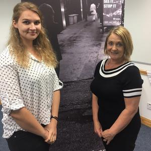 Human Trafficking campaigner Victoria Stanek (left) with Mary McSharry at the new Irish HQ of Invisible Traffick in Sligo town