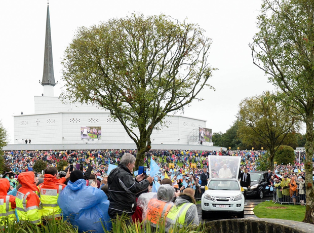 The Pope in his popemobile at Knock. Pic: MaxPix.ie