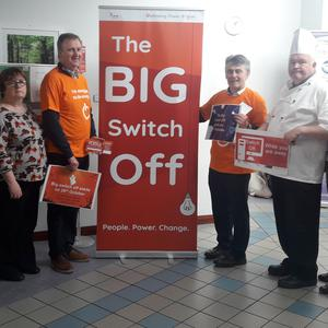 The Big Switch Off in Sligo University Hospital: Pauline Kent, Smoking Cessation Co-ordinator; Gary Streete, Waste Management Co-ordinator; Eleanor McCarrick, NUI Galway Medical Academy; Mary P Scanlon, Assistant Catering Manager; Declan Mc Goldrick,Project Manager, HSE Estates; Michael O'Brien, Energy Officer, HSE Estates; Tom Rouse, Production Manager, Catering Dept; Patricia Lee, Services Manager; and Grainne Mc Cann, General Manager