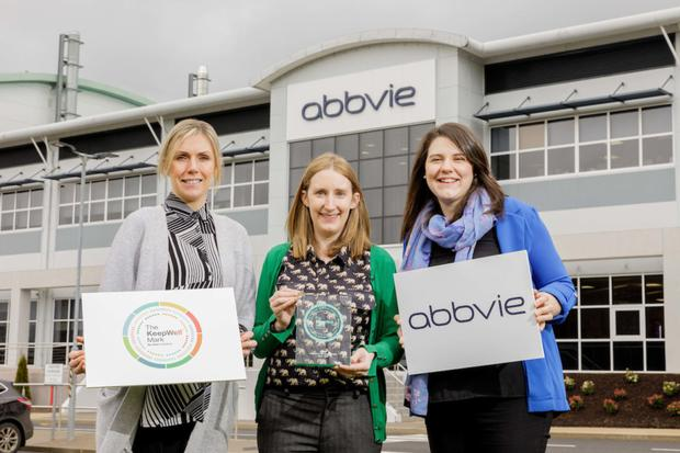 AbbVie employees Sinead Branley, Miriam Cunningham and Fiona Kelly pictured with the Ibec Keep-Well Mark award