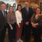 Thomas Walsh, Deputy Tony McLoughlin, Cllr Marie Casserly, Cllr Sinead Maguire and representatives from the Save St Mary's College Working Group, Anne Marie McCormack and Katrina Cunniffe with Minister McHugh