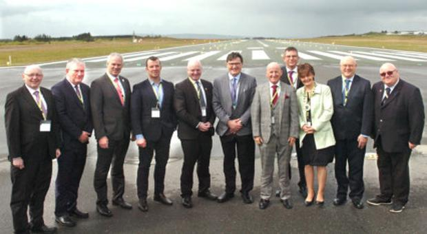 Members of the region's Local Authority delegation pictured during their visit to Ireland West Airport Knock with Airport Managing Director Joe Gilmore, and Board Chairman Arthur French. Included from left, Leitrim Co Council Director of Services Joseph Gilhooly, Roscommon Co Council CEO Eugene Cummins, Sligo Co Council CEO Ciarán Hayes, Cllr Paul Taylor, Mayo Co Council CEO and airport board member Peter Hynes, Galway Co Council CEO Kevin Kelly, Leas Cathaoirleach Roscommon Cllr Kathleen Shanagher, Galway City Council CEO Brendan McGrath and Donegal Head of Tourism Barney McLaughlin. Pic: Henry Wills