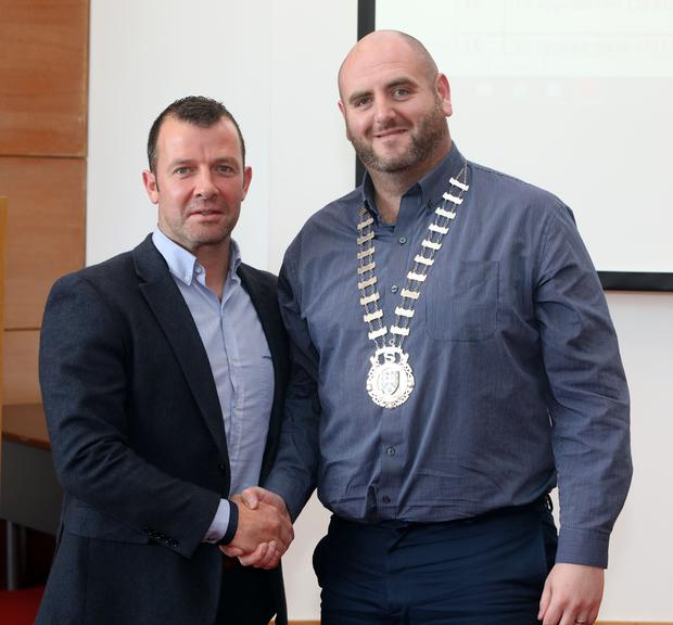 Cllr Paul Taylor with leas cathaoirleach Cllr Gino O'Boyle last Friday at the first meeting of the new County Council