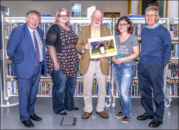 Eamonn Gallagher ( Phoenix Players Chairman), Jen Emery, Tubbercurry Library, Tom Walsh, Phoenix Players Director presenting the book to Abbey McGowan (Tubbercurry Library) and Brian Cahill who compiled and edited the book of the Phoenix Players' Production of The Sound of Music. Pic: Tom Callanan