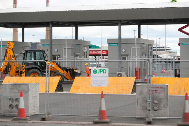 New customs posts under construction at Dublin Port in preparation for a no-deal Brexit