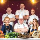 Sligo Food Trail chefs and producers taking part in the Harvest Feast include: Back (l-r): Alan Fitzmaurice (The Glasshouse), Marcin Szczodrowski (Eala Bhán Restaurant) and Yvonne Kathrein (Waterfront House Hotel). Front: Prannie Rhatigan (Irish Seaweed Kitchen), Joe Shannon (Radisson Blu Hotel & Spa), and Aisling Kelly (Sligo Oyster Experience at WB's)