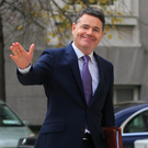 Minister for Finance Paschal Donohoe with Budget 2020 at Government Buildings, Dublin