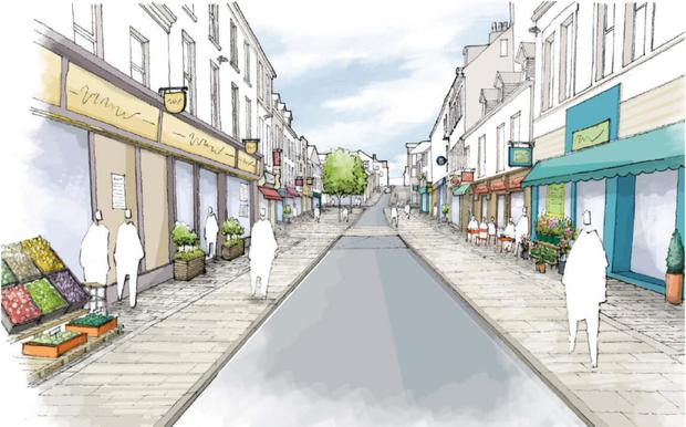 Artist's drawing of what the O'Connell Street enhancement works will look like when completed
