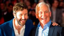 Chris O'Dowd (left) and journalist David Walsh, whom he played on-screen in The Program, a film about the controversial cyclist, Lance Armstrong whom Walsh exposed as a doping cheat.
