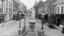 Market Street, Sligo with the Lady Erin statue which was erected to commemorate the 1798 Rising in 1898