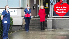 Councillor Marie Casserly (right) who delivered Valentine cards to staff at SUH on Sunday