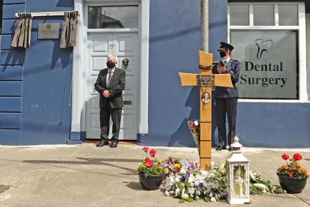 Marty Horkan unveils a plaque in memory of his son, the late Detective Garda Colm Horkan at ceremony took place in Castlerea, where he was stationed