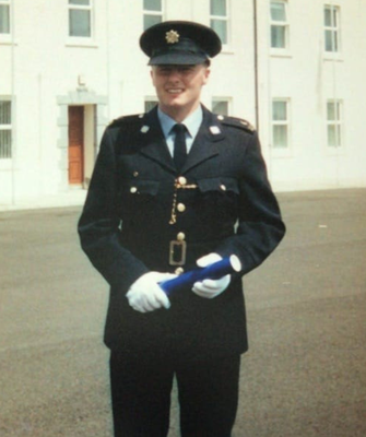 Garda Colm Horkan at his graduation from Templemore College in 1996