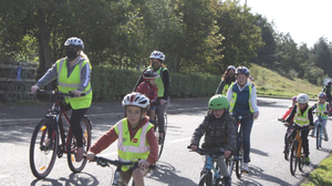 Members of the Cycle Bus pedalling their way to Strandhill during Bike week.