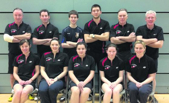 The Sligo Badminton team who were crowned inter county Grade E champions in Galway at the weekend. Back (L-R): Paul Dolan, Brian Calliendo, Conor Caheny, Daniel Dolan, John Dolan, Joey Bird. Front (L-R): Marie McTiernan, Gemma Maguire, Rebecca McGillen, Fionnuala Scanlon, Siobhan Parker.