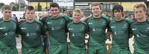 Sligo's 'Magnificent Seven': Members of Sligo Rugby Club who featured on the Connacht Under 18 team for recent matches against the Exiles, Ulster and Munster. Included are (l-r): Jack Keegan, Conan O'Donnell, Matthew Cosgrove (captain), Stephen Kerins, Darragh Byrne, Darragh Cummins and Joe Conway.