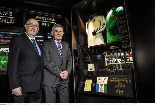 Sligo's Micheál Kearins and Kerry's Mick O'Dwyer pictured as they were inducted into the Croke Park Museum Hall of Fame.