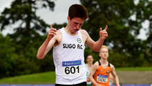 Michael Morgan of Sligo AC, celebrates winning the Junior Men's 5000m event during Day One of the Irish Life Health National Senior and U23 Athletics Championships. Pic: Sam Barnes/Sportsfile