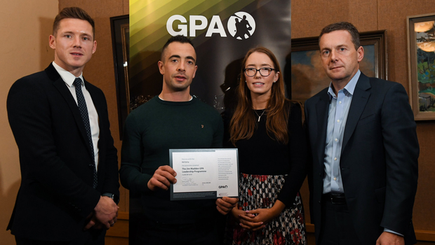 Neil Ewing, Sligo Football, with, from left, Paul Flynn, GPA, CEO, Maria Kinsella, Chairperson of the WGPA, and Michael Madden, Chairman of Ronoc, in attendance at the Jim Madden GPA Leadership Programme Graduation for 2019 at NUI Maynooth in Maynooth, Co Kildare. Pic: Matt Browne/Sportsfile