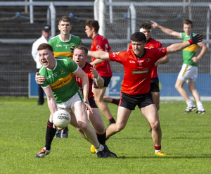 Cathal Henry in possession for Tourlestrane in the Homeland SFC semi final in Markievicz Park on Sunday. Pic: Donal Hackett