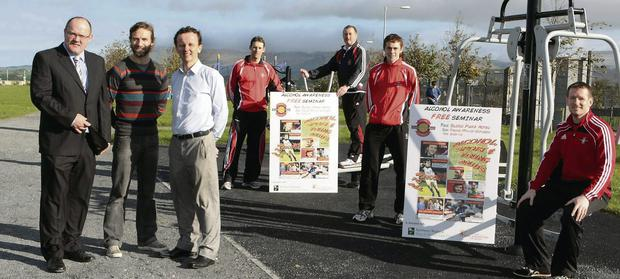 Pictured at the launch of St Mary's GAA Club's Alcohol Awareness seminar were: Gerry Moore, Manager Sligo Park; Colin Regan, GAA Croke Park; Austin O'Callaghan, BBC Sport NI; David Keane, Event Organiser; John Kent, St Mary's Senior Manager; Gerard O'Kelly Lynch, St Mary's Minor Player and Mark Breheny, Club ASAP Officer.