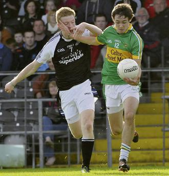 James Kelly, Tubbercurry and John Kelly, Tourlestrane, battle it out in last year's County Championship final. The sides renew rivalry in the opening round of the Kiernan Cup at Tourlestrane on Sunday.