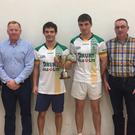Joe Masterson (President Elect of GAA Handball Ireland), James Gaffney, Killian Carroll, overall winner, Martin Mulkerrins runner up, Adrian Drury (Drury Oils Ltd.) and Padraig Gaffney