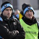 Sligo manager Niall Carew watches on with selector Keith Carty