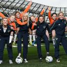 Stephanie Roche and ROI women's players at the launch of the FAI Soccer Sisters Easter Camps