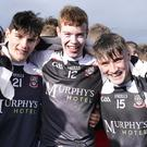 Conor Gorman, Michael Gorman and Aaron Perry of St Attracta's celebrate winning the Connacht 'A' Championship in the Connacht Centre of Excellence. Pic: Tom Callanan