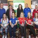 Players from Eoghan Rua, Geevagh, St Nathy's and St Mary's with Sean Brehony, Martin Seery, Karen McGarty, Connacht Gold, David Gaffney and Paddy Coleman. Pic: Donal Hackett