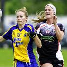 Laura Fleming of Roscommon and Ruth Goodwin of Sligo going for the ball at Kilcoyne Park on Saturday