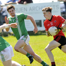 Kyle Crawley, scorer of two St Mary's goals, in possession as St Molaise Gaels pursuit