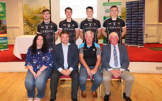 AbbVie Senior, U20 and Junior Football Sponsors. Back row: Mikey Gordon, Paddy O'Connor, Eamonn Kilgannon and Luke Nicholson. Front row: Bernardine McGauran, (Secretary Sligo County Board), Darragh Patwell (Site Director AbbVie Manorhamilton Road), Peter Greene (Treasurer Sligo County Board) and Joe Taaffe (Chairman Sligo County Board) at the Sponsors night in the Southern Hotel