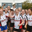 IT Sligo team captains Ann Sheridan and Rachael Connelly lift the cup as their team-mates celebrate after the Intermediate final against Maynooth University at the 2018 Gourmet Food Parlour HEC Freshers Blitz at Dublin City University in Dublin. Pic: Matt Browne/Sportsfile