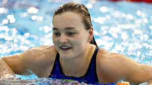 Mona McSharry of Marlins SC after achieving a national record and swimming a FINAA standard time in the 100 metre breaststroke on day one of the Irish National Swimming Team Trials at Sport Ireland National Aquatic Centre in the Sport Ireland Campus, Dublin. Pic: Brendan Moran / Sportsfile.