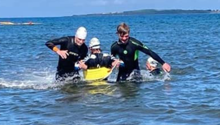 Some of the Sligo Surf Lifesaving juniors taking part in summer training at Rosses Point beach recently.