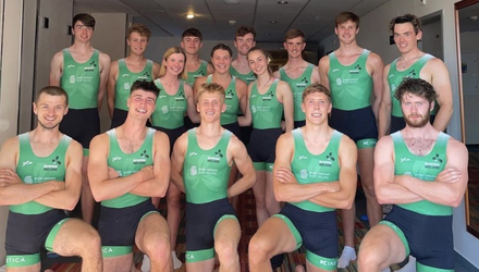 Ballymote's Brian Colsh (back far left) with his Irish teammates. Colsh was part of the Irish U23 team and won an extremely competitive race where the European silver medallist went on to beat Russia in the single scull event.