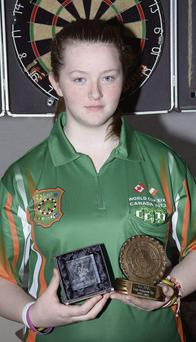 Sligo darts player, Leah Fox (13) who will represent Ireland at the World Darts Cup in Newfoundland, Canada.