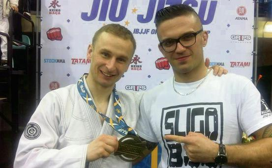 Ryan Smyth, left, winner of a bronze medal at the European Jiu Jitsu Championships in Lisbon, pictured with fellow Sligo Alliance Jiu Jitsu club member, Dominik Szerzen.