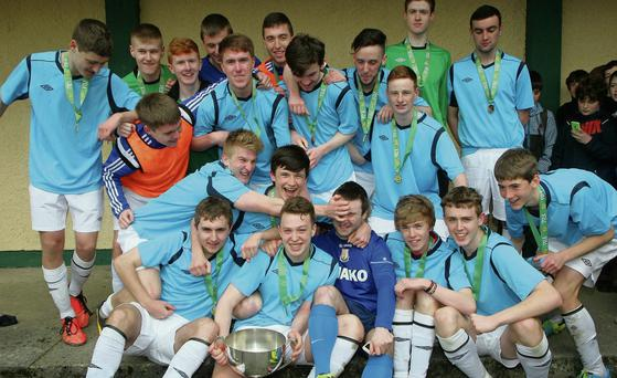 Summerhill College players in jubilant mood after winning the All Ireland Senior Schools soccer championship for the second year in a row at Maginn Park, Buncrana. Photo: Brenda McCallion
