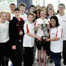 Members of Sligo Swimming Cup with the Higgins Cup which they won at the Athlone Invitational Gala.