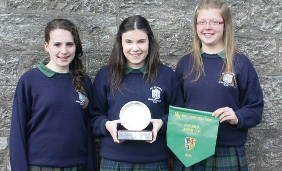 Ella McDermott, Niamh Cronin and Maeve Rooney, members of the Ursuline College Golf team which won the All-Ireland Schools Championship in Miltown Golf Club, Dublin.