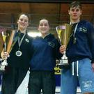 Aine Leonard, Alex Block and Dessie Leonard, members of the Collooney Kickboxing Club, who were successful at the WAKO World Championships in Italy