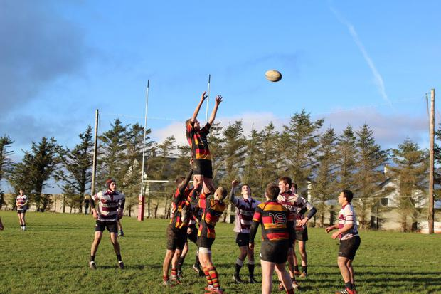 Sligo's Fionn Costello is lifted at a line-out by Brian Cox, Noel Muldoon and Fergus Lang during Sunday's U-16 game agaisnt Creggs at Hamilton Park.